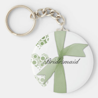Green Hearts & Ribbons Basic Round Button Key Ring