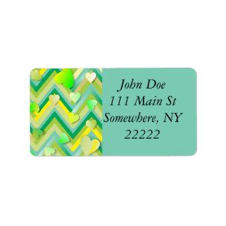 Green Hearts Zigging Address Label