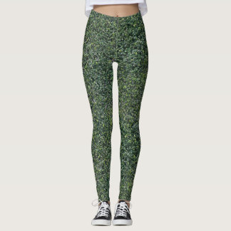 Green Hedge Leaves Foliage Textured Leggings
