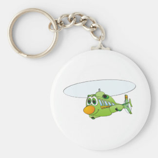 Green Helicopter Cartoon Basic Round Button Key Ring