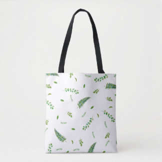 Green Herbs leaves printed tote bag