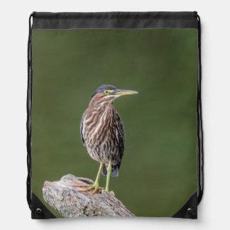 Green Heron on a log Drawstring Bag