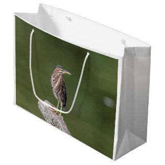 Green Heron on a log Large Gift Bag