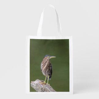 Green Heron on a log Reusable Grocery Bag
