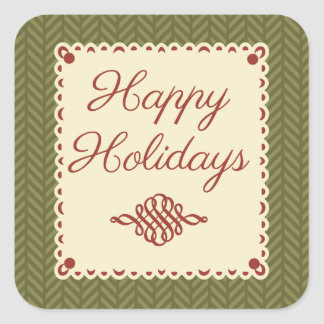 Green Herringbone Happy Holidays Sticker