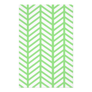 Green Herringbone Stationery