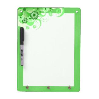 Green Hibiscus Dry-Erase Board Vertical 12x9 Hooks