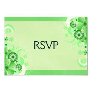Green Hibiscus Elegant Custom RSVP Response Cards 9 Cm X 13 Cm Invitation Card