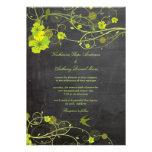 Green Hibiscus Floral Birds Chalkboard Wedding