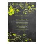 Green Hibiscus Floral Birds Chalkboard Wedding 13 Cm X 18 Cm Invitation Card
