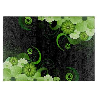 Green Hibiscus Floral Custom Glass Cutting Board