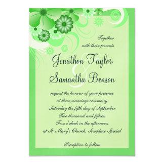 Green Hibiscus Floral Custom Wedding Invitation Invitation