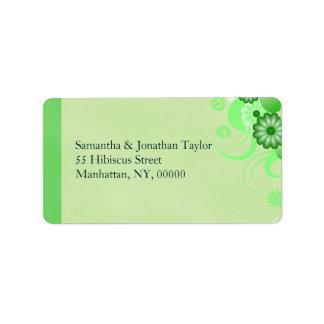 Green Hibiscus Floral Return Address Labels Favors