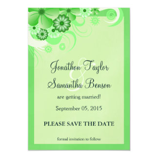 Green Hibiscus Floral Save The Date Announcement Invites