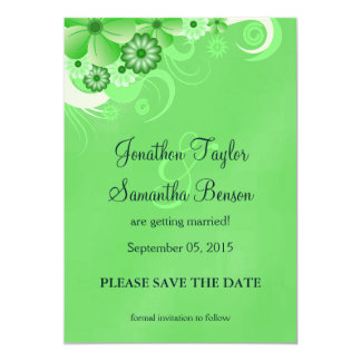 Green Hibiscus Floral Save The Date Announcement Personalized Announcement