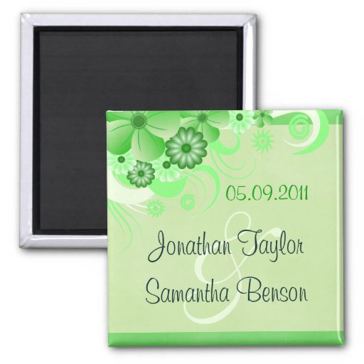Green Hibiscus Floral Save The Date Fridge Magnets Magnet