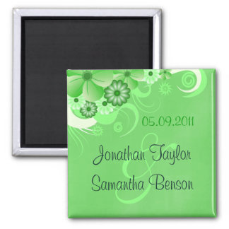 Green Hibiscus Floral Save The Date Fridge Magnets