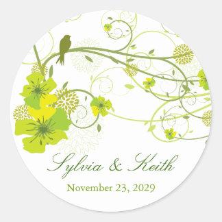 Green Hibiscus Floral Swirls Birds Wedding Sticker