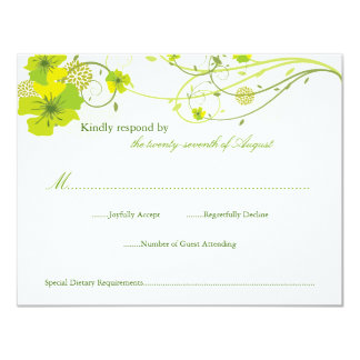 Green Hibiscus Floral Swirls Swallows Wedding RSVP Card