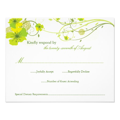 Green Hibiscus Floral Swirls Swallows Wedding RSVP Personalized Invitation