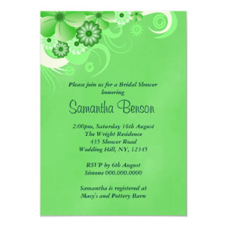 Green Hibiscus Floral Wedding Bridal Shower Invite