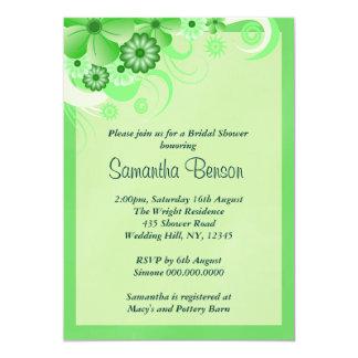 Green Hibiscus Floral Wedding Bridal Shower Invite Announcement