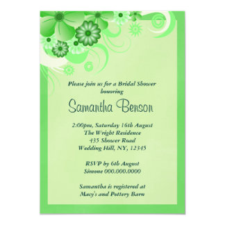 Green Hibiscus Floral Wedding Bridal Shower Invite