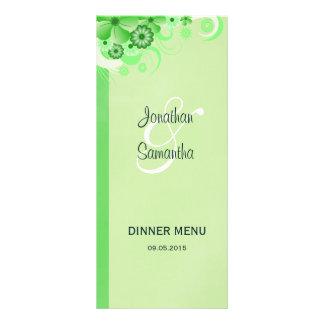 Green Hibiscus Floral Wedding Dinner Menu Cards Personalised Rack Card
