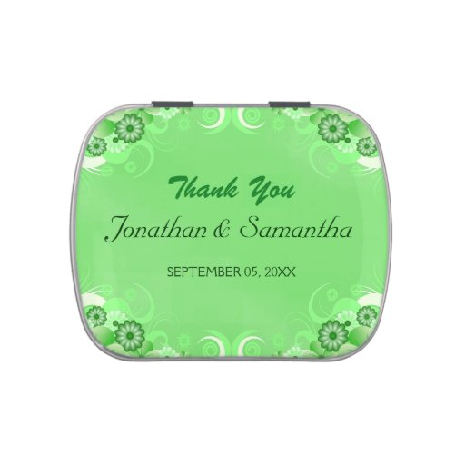 Green Hibiscus Floral Wedding Favor Candy Tins Jelly Belly Candy Tin