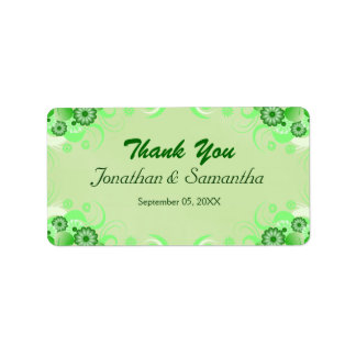 Green Hibiscus Floral Wedding Favor Favour Labels
