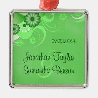 Green Hibiscus Floral Wedding Keepsake Ornaments