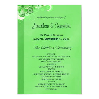 Green Hibiscus Floral Wedding Program Templates 13 Cm X 18 Cm Invitation Card