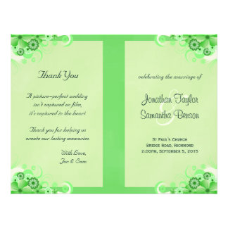 Green Hibiscus Floral Wedding Program Templates 21.5 Cm X 28 Cm Flyer