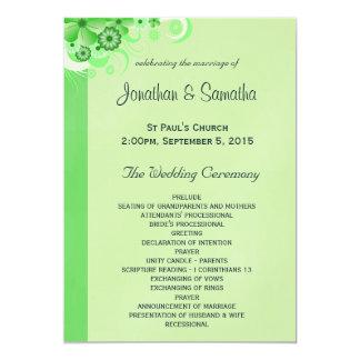 Green Hibiscus Floral Wedding Program Templates Invites