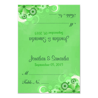 Green Hibiscus Floral Wedding Table Place Cards Custom Invites