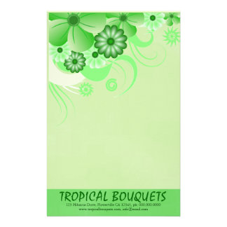 Green Hibiscus Florist Stationery Writing Paper