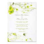 Green Hibiscus Swirl & Swallows Wedding Invite