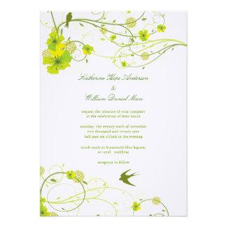 Green Hibiscus Swirl Swallows Wedding Invite Cards