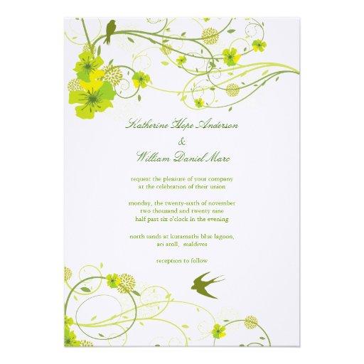 Green Hibiscus Swirl & Swallows Wedding Invite Cards
