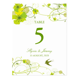 Green Hibiscus Swirls and Birds Table Number Card