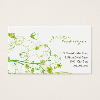 Green Hibiscus Swirls & Swallows Business Cards