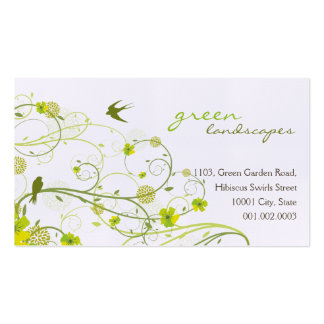 Green Hibiscus Swirls Swallows Profile Card Business Card Templates