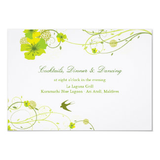 Green Hibiscus Swirls Swallows Wedding Reception Personalized Announcement