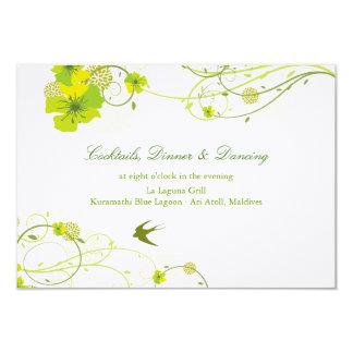 Green Hibiscus Swirls Swallows Wedding Reception 3.5x5 Paper Invitation Card