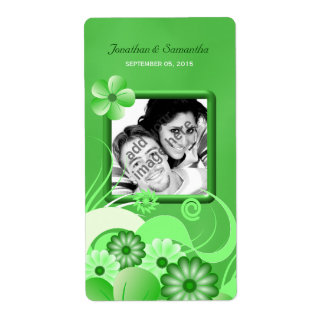 Green Hibiscus Wedding Big Photo Favor Wine Label Shipping Label