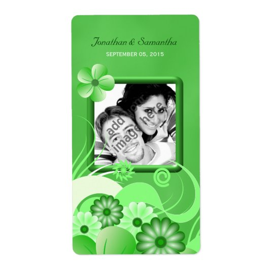 Green Hibiscus Wedding Big Photo Favour Wine Label Shipping Label