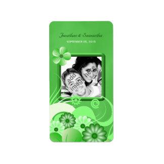 Green Hibiscus Wedding Photo Favor Wine Labels