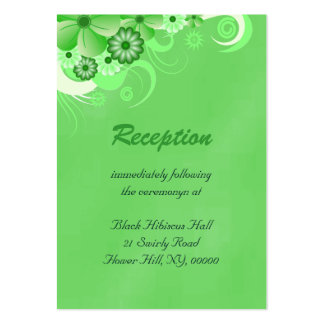 Green Hibiscus Wedding Reception Enclosure Cards Pack Of Chubby Business Cards