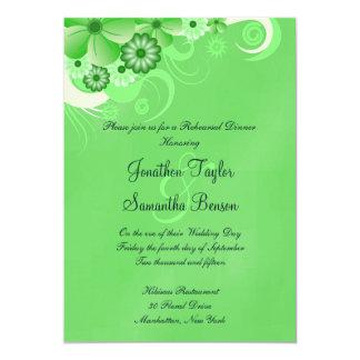 Green Hibiscus Wedding Rehearsal Dinner Invites