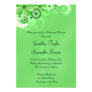 Green Hibiscus Wedding Rehearsal Dinner Invites Custom Announcements